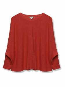 Women's Sonder Studio ladies linen batwing top terracotta three quarter length sleeves scoop neck