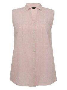 Ladies plus pink stripe sleeveless shirt button down classic collar linen blend  - Pink