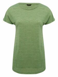 Women's Ladies stripe longline t-shirt short sleeve crew neck split hem long length