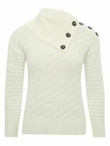 Women's Ladies petite long sleeve split neck ribbed knit jumper
