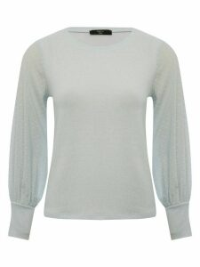 Women's Ladies Petite size dobby sheer sleeve top