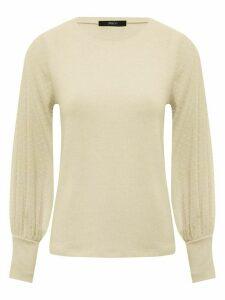 Women's Ladies plain dobby sheer sleeve top long sleeve crew neck
