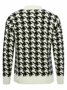 Ladies petite dogtooth knit jumper  - Black and Ivory