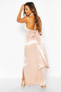 Womens Petite Occasion Satin High Neck Bow Back Maxi - Pink - 14, Pink