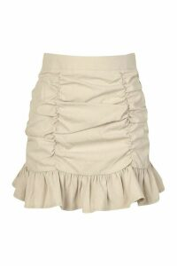 Womens Petite Twill Ruched Frill Hem Skirt - Beige - 6, Beige