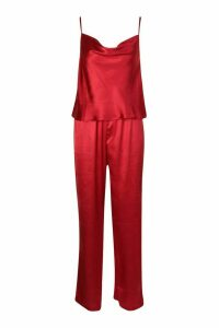 Womens Satin Cami & Trouser Set - Red - 12, Red