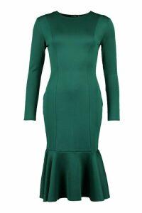 Womens Long Sleeve Fish Tail Midi Dress - Green - 8, Green