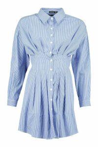 Womens Stripe Drop Shoulder Fitted Shirt Dress - Blue - 8, Blue