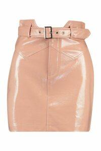 Womens Belted Panel Detail Leather Look Mini Skirt - Beige - 6, Beige
