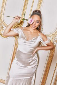 Womens Tall Off Shoulder Satin Maxi Dress - Pink - 18, Pink