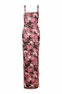 Womens Oriental Print Maxi Dress - Pink - 18, Pink