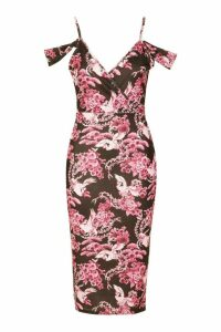 Womens Oriental Plunge Front Drape Sleeve Midi Dress - Pink - 14, Pink