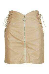 Womens Lace Up Side Zip Front Mini Skirt - Beige - 16, Beige
