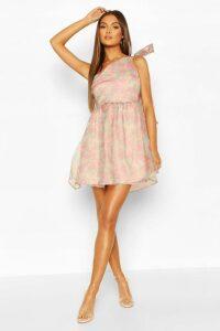 Womens Floral Organza Mesh One Shoulder Bow Skater Dress - Pink - 16, Pink