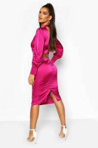 Womens Satin Low Back Button Detail Midi Dress - Pink - 14, Pink