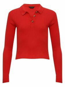 Teen girl long sleeve polo shirt  - Red