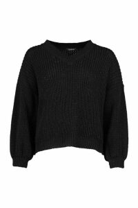 Womens Petite V Neck Chunky Knit Jumper - Black - S, Black