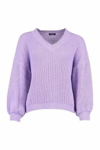 Womens Petite V Neck Chunky Knit Jumper - Purple - Xs, Purple