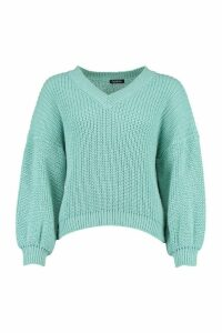 Womens Petite V Neck Chunky Knit Jumper - Green - M, Green