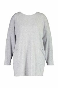 Womens Plus Side Pocket Longsleeve Sweatshirt Tunic - Grey - 18, Grey
