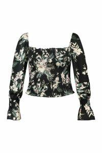 Womens Plus Tropical Floral Satin Longsleeve Crop Top - black - 20, Black