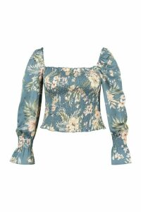 Womens Plus Tropical Floral Satin Longsleeve Crop Top - blue - 20, Blue