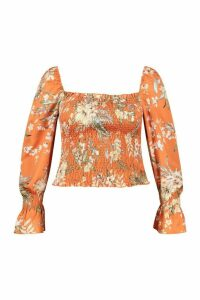 Womens Plus Tropical Floral Satin Longsleeve Crop Top - orange - 20, Orange