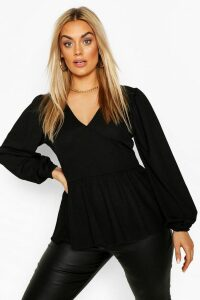 Womens Plus Crepe Blouson Sleeve Peplum Smock Top - Black - 20, Black
