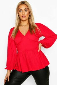 Womens Plus Crepe Blouson Sleeve Peplum Smock Top - Red - 20, Red