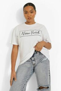 Womens Plus 'New York' Oversized T-Shirt - White - 16, White