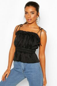 Womens Petite Ruched Waist Satin Top - Black - 4, Black