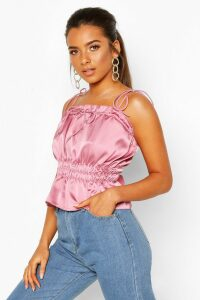 Womens Petite Ruched Waist Satin Top - pink - 14, Pink