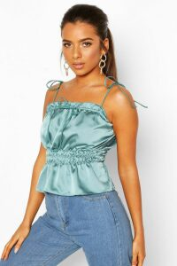 Womens Petite Ruched Waist Satin Top - blue - 14, Blue