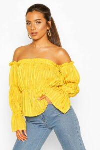 Womens Petite Satin Stripe Volume Sleeve Bardot Top - yellow - 14, Yellow