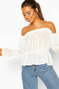 Womens Petite Satin Stripe Volume Sleeve Bardot Top - White - 4, White