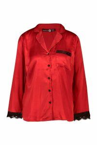 Womens Mix & Match Eyelash Trim Satin Shirt - red - 16, Red