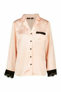 Womens Mix & Match Eyelash Trim Satin Shirt - metallics - 16, Metallics