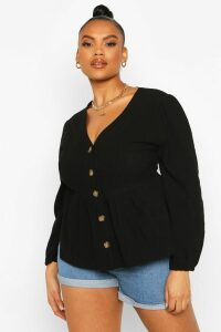 Womens Plus Blouson Sleeve Peplum Top - Black - 22, Black