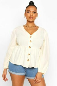 Womens Plus Blouson Sleeve Peplum Top - white - 24, White