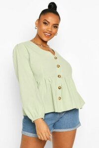 Womens Plus Blouson Sleeve Peplum Top - Green - 18, Green