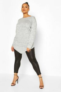 Womens Plus Longsleeve Asymmetric Tunic Top - grey - 18, Grey