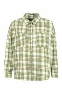 Womens Petite Oversized Pocket Detail Check Shirt - green - 14, Green