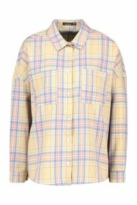 Womens Petite Oversized Pocket Detail Check Shirt - Pink - 8, Pink