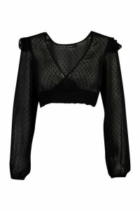 Womens Petite Dobby Ruffle Shoulder Wrap Shirred Blouse - Black - 14, Black
