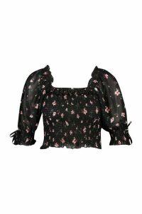 Womens Petite Floral Puff Sleeve Sheered Top - Black - 14, Black