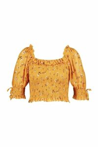 Womens Petite Floral Puff Sleeve Sheered Top - yellow - 14, Yellow