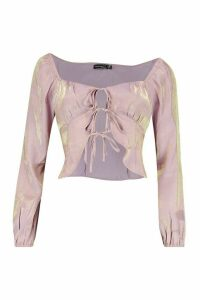 Womens Petite Corset Detail Long Sleeve Blouse - purple - 14, Purple