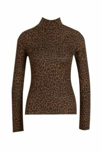 Womens Leopard Print Brushed Knitted Top - Beige - 14, Beige