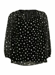 Black Foil V-Neck Top, Black