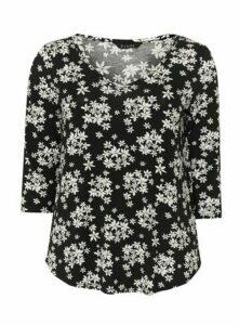 Black Daisy Print Top, Black